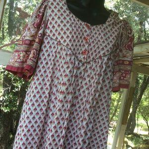 Vintage 1970 Cotton Maternity Hippie Dress Nepal L